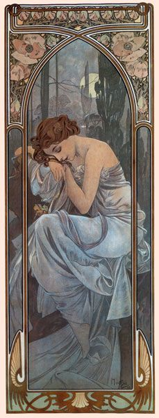 The painting is made by Alphonse Mucha. It's called Nocturnal Slumber and made between 1860-1939. This is an art nouveau which is an international style of art. The artist was inspired by natural forms and structures, not only in flowers and plants, but also in curved lines.