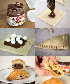nutella puff pastries. puff pastries are so good already with chicken/veggies/beef... and then you add nutella into the equation? so worth the risk of heart attack!