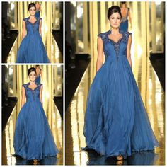 Wholesale Formal Evening Dress - Buy 2014 Mireille Dagher New Arrival Sweetheart Cap Sleeves Sheath Full Length Chiffon Applique Beads Cryst...