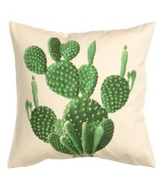 Cactus Pillow! | Cushion cover in woven organic cotton fabric with a printed motif. Solid-color backing.