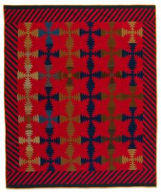 "Log Cabin - Pineapple variation quilt, 78 x 65"",, about 1890.  Pennsylvania (Mennonite).  Speed Art Museum (Kentucky)."