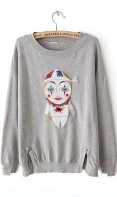Three dimensional robot design pullover sweater grey. cute