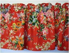 Red Poppy Print X Kitchen Chair Cushions