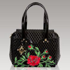 Valentino Orlandi Italain Designer Black Quilted Leather Satchel Handbag w/ Roses Luxury Handbags, Designer Handbags, Designer Bags, Unique Purses, Leather Satchel, Satchel Bag, Black Quilt, Quilted Leather, Leather Design