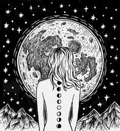 moon, art, and stars afbeelding