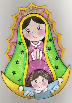✿.。.:* BERTHA MANUALIDADES *.:。✿: CeNtRo dE MeSa ViRgEnCiTa De GuAdAlUpE ♥ Tole Painting, Painting On Wood, File Decoration Ideas, Craft Ideas, Painted Clay Pots, Mama Mary, Decorate Notebook, Blessed Mother, Mother Mary