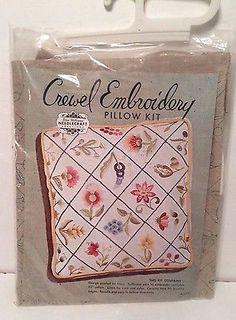 Elsa Williams Crewel Embroidery Pillow Kit - Floral Design - KLC152 - NEW
