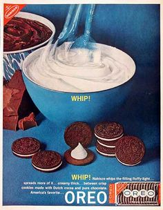 Oreo Ad: 1960 Today is the anniversary of Oreo Cookies , and my friend Louise over at Months of Edible Celebrations has a Centen. Retro Advertising, Vintage Advertisements, Vintage Ads, Vintage Food, Retro Ads, Retro Food, Vintage Baking, Vintage Stuff, Vintage Posters