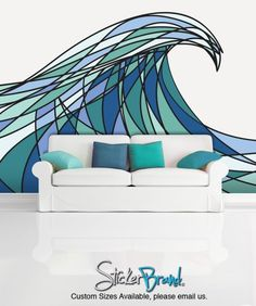Cool wave drawing...Wall Mural Decal Sticker Decani Ocean Wave Color MCrespo130 just for ideas not to buy. $650