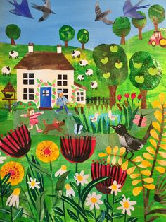 Home of Tracey English Illustration Paper Collage Art, Paper Art, Folk Art Flowers, Collage Illustration, Guache, Naive Art, Whimsical Art, Elementary Art, Teaching Art
