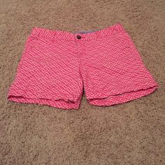 Pink and off white shorts Pink and off white design shorts. In great condition. These are the 5 inch shorts not the three inch. I always were it with a white shirt though. It don't really matter. Really cute and most comfortable shorts I have ever worn. Merona Shorts