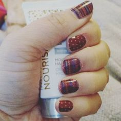 """Jamberry Combo: Stitched Away and Pomegranate Pop Lorraine Hauger Instagram lorrainehauger  #Jamberry #jamberrynails #jamberrynailwraps #JamberryCombo #jamberrycombos…"""""""