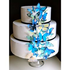 Blue and Green EDIBLE Butterflies - Edible Butterfly Wedding Cake & Cupcake Toppers, PRECUT and Ready to Use ($25) found on Polyvore