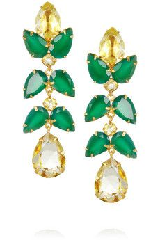 BOUNKIT gold-plated quartz and onyx drop earrings seen at NET-A-PORTER.COM wow, so amazingly beautiful – these earrings will go with everything – with black or colored dresses,… I Love Jewelry, Gold Jewelry, Jewelry Box, Jewelery, Jewelry Accessories, Fine Jewelry, Wedding Accessories, Emerald Earrings, Statement Earrings