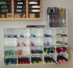 Organization for your Craft Room: Marker Storage by XcessStamps - Cards and Paper Crafts at Splitcoaststampers Craft Organisation, Stationary Organization, Room Organization, Organization Station, Craft Room Storage, Fabric Storage, Craft Rooms, Small Closet Storage, Marker Storage
