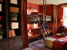 Ever since I saw this room back when the HGTV Dream Home 2011 Ski Dorm was released I've wanted a grown-up bunk room for a guestroom. Cool Bedrooms For Boys, Kids Bedroom, Master Bedroom, Cozy Bedroom, Bedroom Decor, Awesome Bedrooms, Master Suite, Bedroom Furniture, Dorm Pictures