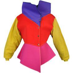 Pre-owned Circa 1983/84 Kansai Yamamoto Colorblocked Neoprene Jacket (Vintage $1.500)