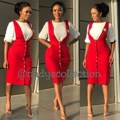 BIG AND SMALL SIZES( Shirt available) size 8 to 20 (6colours) Both branch😘😘😘😘 Stylish Work Outfits, Business Casual Outfits, Stylish Dresses, Chic Outfits, Fashion Outfits, Dress Outfits, Dress Up, Pinafore Dress Outfit, Official Dresses
