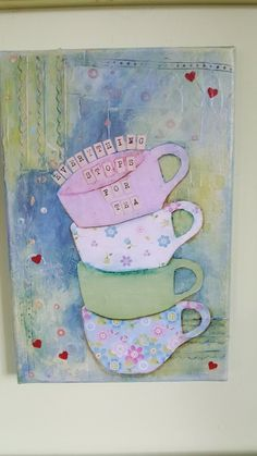Mixed Media Canvas : Everything stops for Tea, Acrylics, stencils, structure paste. Space Crafts, Mixed Media Canvas, Acrylics, Stencils, My Arts, Crafty, Tea, Spaceships, Acrylic Nails