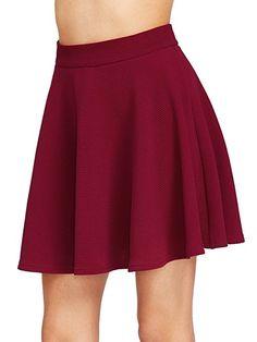 SheIn Women's Basic Solid Flared Mini Skater Skirt at Amazon Women's  Clothing store: