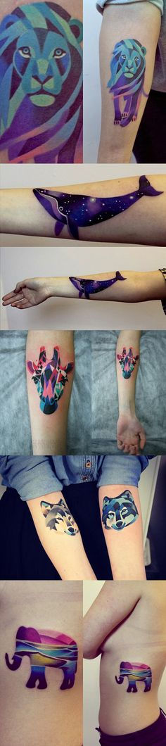 Out of this world Sasha Unisex tattoos… I am absolutely IN LOVE with this style for animal tattoos!