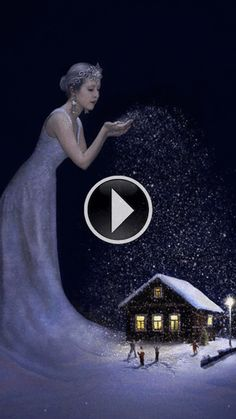 A really cool and beautiful animated winter GIF. A fairy throwing snow at home.