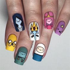 Here are all the different characters on the Sugar Bubbles stamping plate! I really love how these turned… Nail Swag, Adventure Time Nails, Easter Nail Art, Nagel Blog, Kawaii Nails, Fire Nails, Best Acrylic Nails, Dream Nails, Cute Nail Art