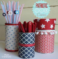 Patriotic Tin Cans {Utensil Caddy}