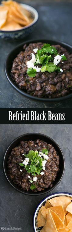 Refried Black Beans ~ Black beans, cooked and then fried and mashed with onion, garlic, chili, and cilantro. So good!! #CincodeMayo ~ SimplyRecipes.com