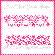 Heart lace cake stencils set of 2 cake side от Stenciland