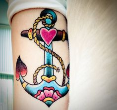 Beautiful colored anchor tattoo