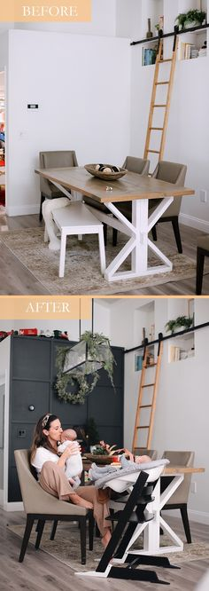 Tutorial: DIY Wood Grid Wall! How to create a stunning and bold accent wall with a DIY wooden grid. Click for the full tutorial. | Tutorial: Board and Batten Grid Wall by popular Florida DIY blog, Fresh Mommy Blog: before and after image of a dining area with a board and batten grid wall.