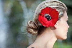 Poppy Red Bridal Feather  Flower -  Hairpiece, Floral,  Hair Flower, Bride, Wedding, Statement Piece The REEGAN. $53.00, via Etsy.
