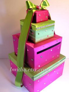 Awesome Pink and Lime Wedding Card Holder by bwithustudio on Etsy.  <3