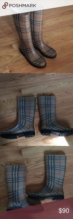 Burberry rain boots EUC Burberry rain boots. Super cute, couple of minor scuffs. Adorable with a red umbrella! These say size 40, but I am a 9 and they fit me with socks Burberry Shoes Winter & Rain Boots