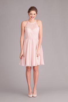 A short chiffon bridesmaid dress with a high, illusion neckline. | Kennedy Blue Bridesmaid Dress Sienna