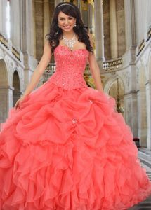 Elegant Quinceanera Dresses Watermelon Beading Sweetheart Ball Gown