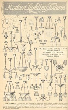 A selection of lights from the Aladdin 1916 furnishings catalog. This is an amazing catalog selection of old Aladdin Electric Lamps, Chandeliers, Pendants and Fixtures. Craftsman Remodel, Craftsman Interior, Craftsman Style, Craftsman Lighting, Farmhouse Lighting, Victorian Lighting, Antique Lighting, 1920s Home Decor, Chandeliers