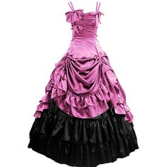 Partiss Womens Gothic Victorian Ruffles Prom Lolita Dress ($90) ❤ liked on Polyvore featuring dresses, ruffle dress, victorian goth dress, frilly dresses, flounce dress and ruffle prom dress