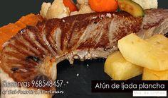 hoy te proponemos para tomar fuerzas para el fin de semana un buen filete de atún de hijada a la plancha con puré de boniato y verduras salteadas ¿ apatece? reservas 968548457