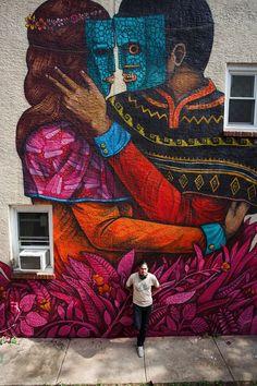 """by Saner - """"Philos & Adelphos""""  for MuralArts  - Philadelphia, Pennsylvania - Oct 2015"""