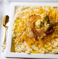 Roasted pumpkin/cauliflower hummus. Can't wait to put some sriracha in there!