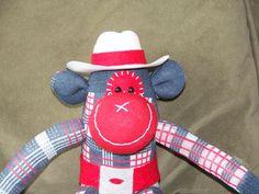Sock Monkey Doll Cowboy or Cowgirl  by AsYouWishCreations4u, $27.00