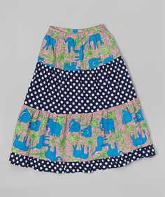 This Navy Polka Dot Elephant Maxi Skirt - Infant & Kids by Annapolis Brand is perfect! #zulilyfinds