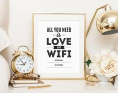 Guest bedroom WIFI sign. Gold accessories.
