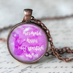 Mermaid Kisses and Starfish Wishes   Quote Pendant, Necklace or Key Chain - Beach, Mermaid, Starfish by Analiese on Etsy