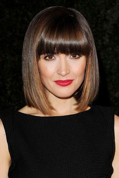 The Best Bobs Ever (Glamour.com UK). Rose Byrne blunt bob and bangs. dark colour with balayage highlights