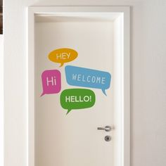 """This Cool welcome wall sticker features the """"Hey, Hi, Welcome Hello"""" text in a beautiful typography. This wall quote sticker is easy to apply and remove. Vinyl wall art is a great choice for decor without long-term commitments. Anyone can enjoy adding this wall art to their door or walls for unique wall decor with ease and great results.$49.95"""