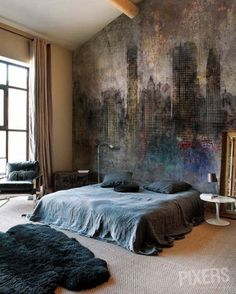Interesting busy wall deco masculine bedroom