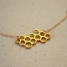 Gold+Vermeil+Honeycomb+Necklace+++Geometric+Hexagon+by+Peytra,+$74.00